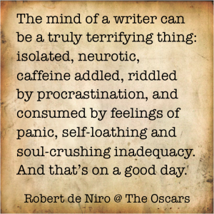 writer quote, de niro, modern cave dweller
